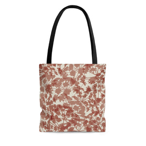 Floral Plaid Tote Bag in Red