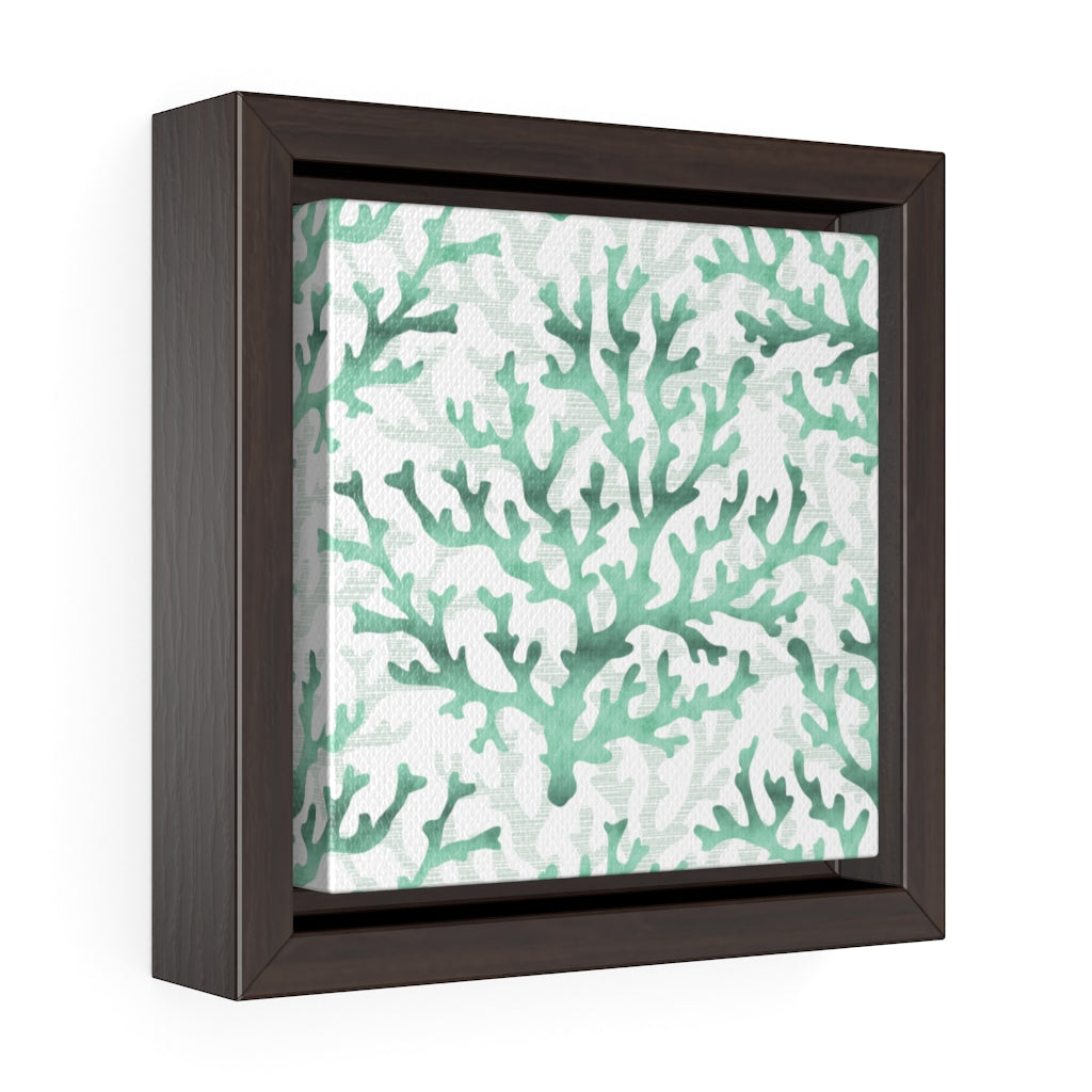 Coral Framed Gallery Wrap Canvas in Aqua