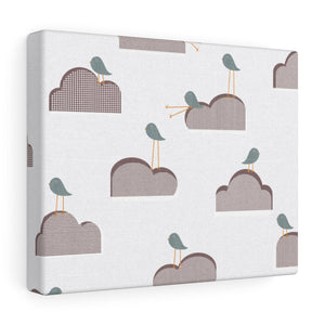 Bird on Cloud Wrapped Canvas in Brown