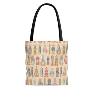 Stamped Leaves Tote Bag in Orange
