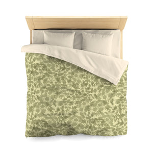Floral Plaid Microfiber Duvet Cover in Green