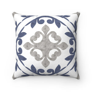 Porto Tile Square Throw Pillow in Navy
