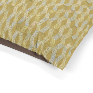 Watercolor Chevron Pet Bed in Gold