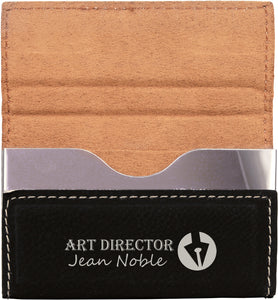 "3 3/4"" x 2 3/4"" Laserable Leatherette Hard Business Card Holder"