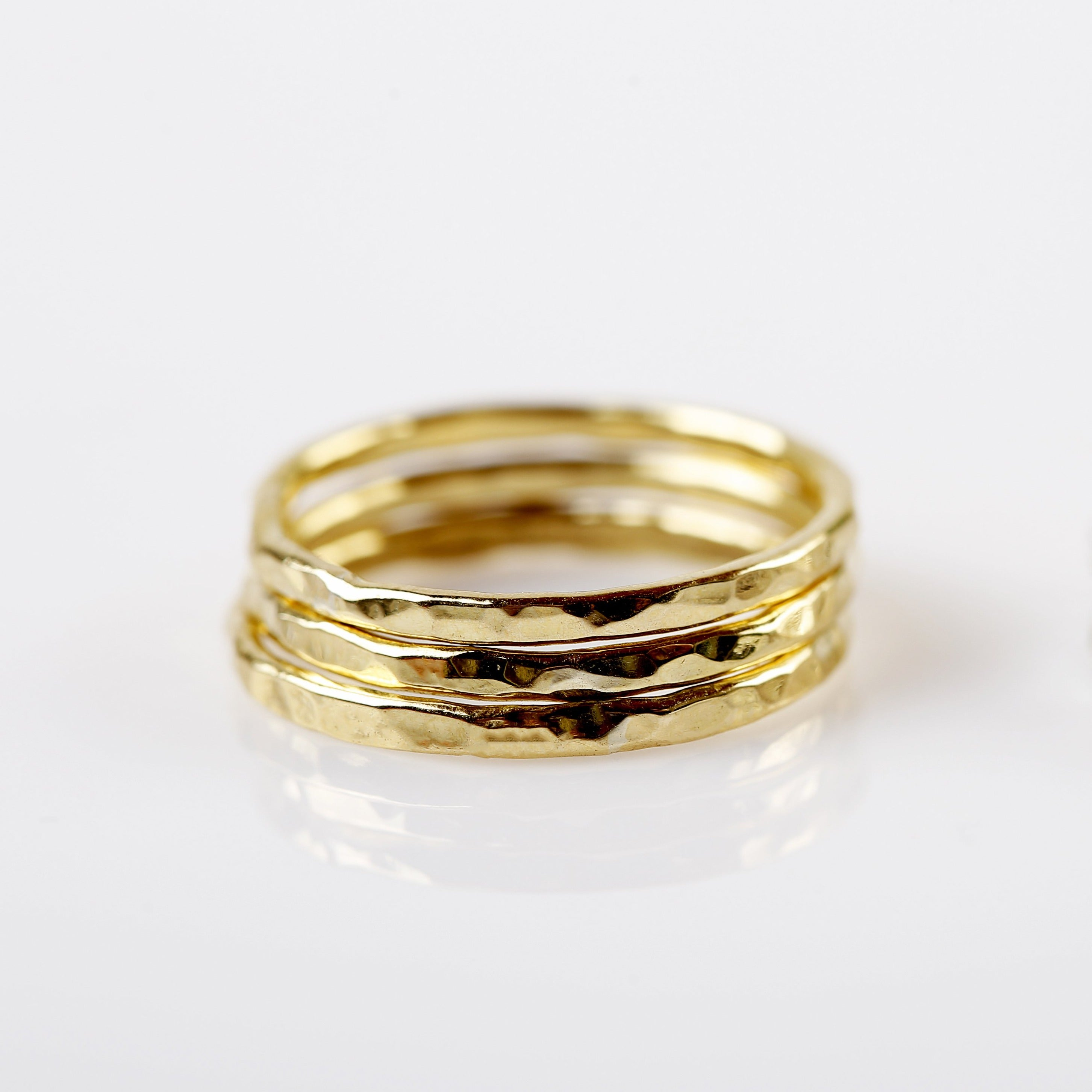 Textured Brass stack rings - set of 3