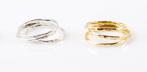 Textured Stack rings - silver - set of 3