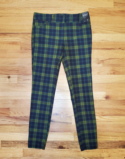 New York and Company 7th Avenue Collection Green, blue and yellow plaid slim leg The Audry Pant style
