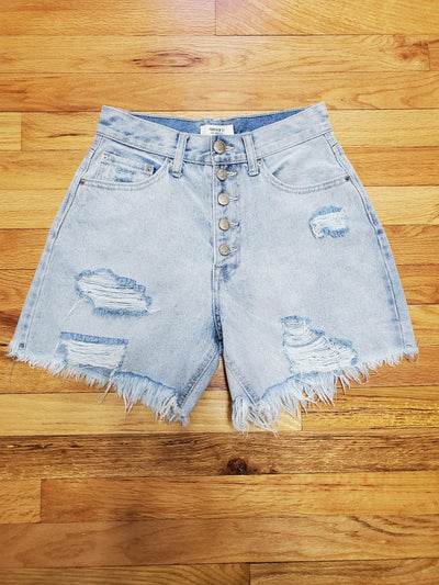 Forever 21 Light blue distressed mom shorts with High rise waist and 2 pockets in front, 2 pockets in back 100% Cotton