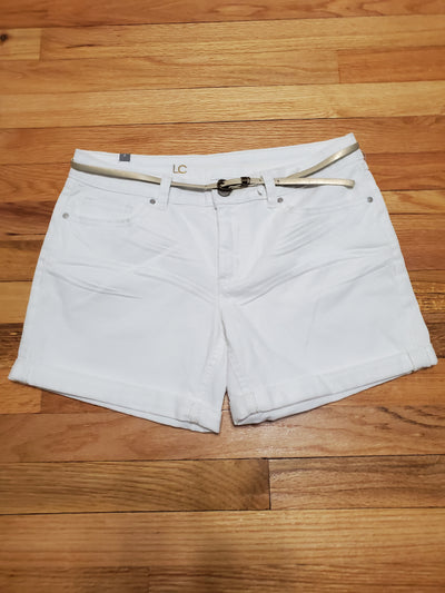 Lauren Conrad White Denim Shorts Cuffed at Thighs with gold faux leather belt