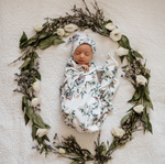 Load image into Gallery viewer, Baby jersey wrap & beanie set