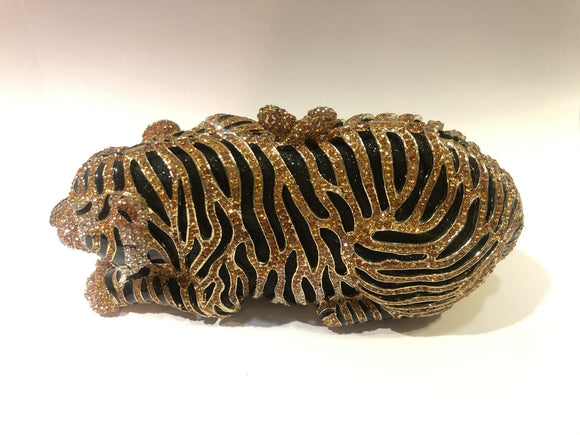 Golden Tiger Clutch with Stone Work