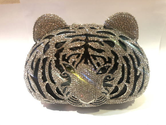 Silver Tiger Face Clutch with Stone Work