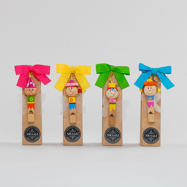 Hand Made Wooden Whistle Key Ring Fairy with 4 delicious candies - nicandali