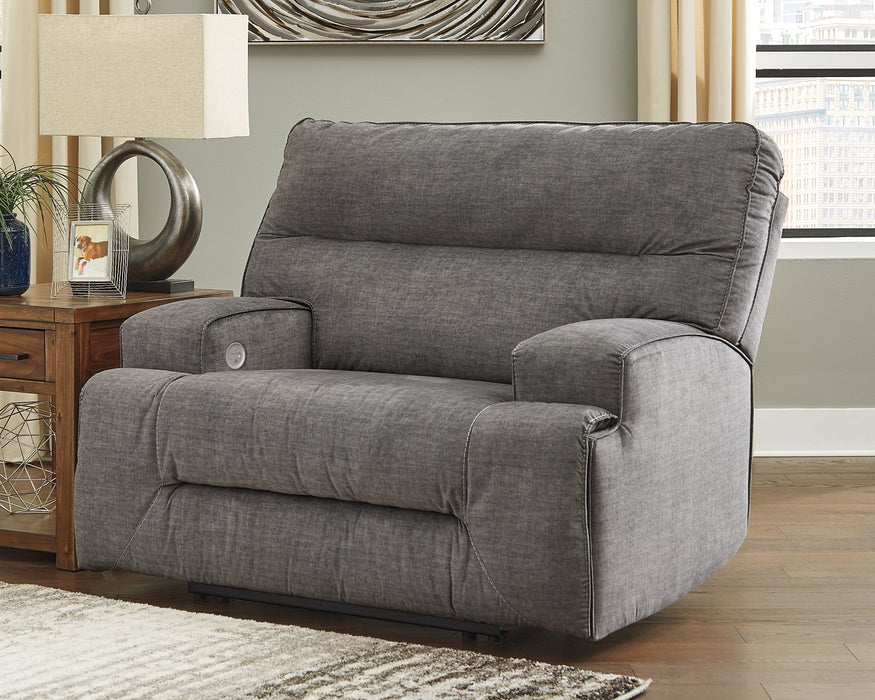 Coombs Signature Design by Ashley Charcoal Oversized Power Recliner