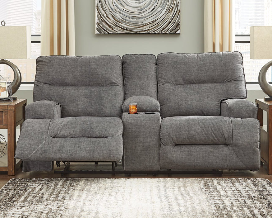 Coombs Signature Design by Ashley Charcoal Reclining Loveseat with Console