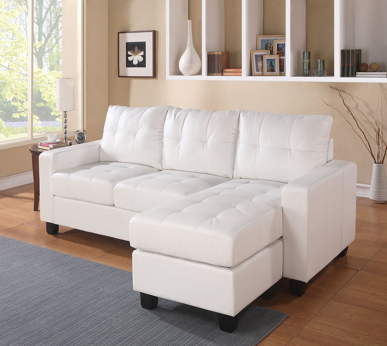 Lyssa White Bonded Leather Match Sectional Sofa & Ottoman image