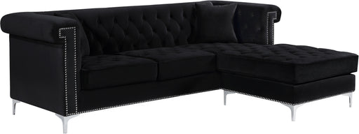 Damian Black Velvet 2pc. Reversible Sectional image