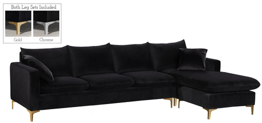 Naomi Black Velvet 2pc. Reversible Sectional image
