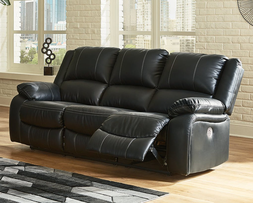 Calderwell Signature Design by Ashley Black Power Reclining Sofa