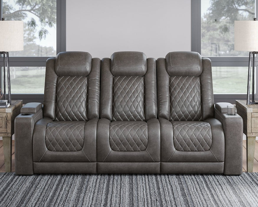 HyllMont Signature Design by Ashley Gray Power Reclining Sofa