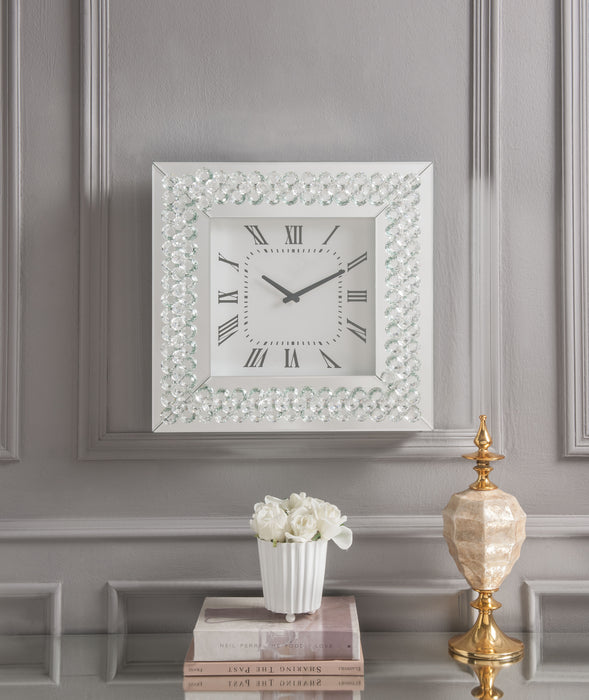 Lotus Mirrored & Faux Crystals Wall Clock image