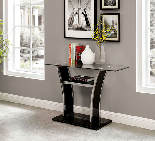 Staten Glossy Black/Chrome Sofa Table image