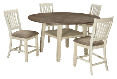 Bolanburg Signature Design 5-Piece Dining Room Set with Counter Height Drop Leaf Table