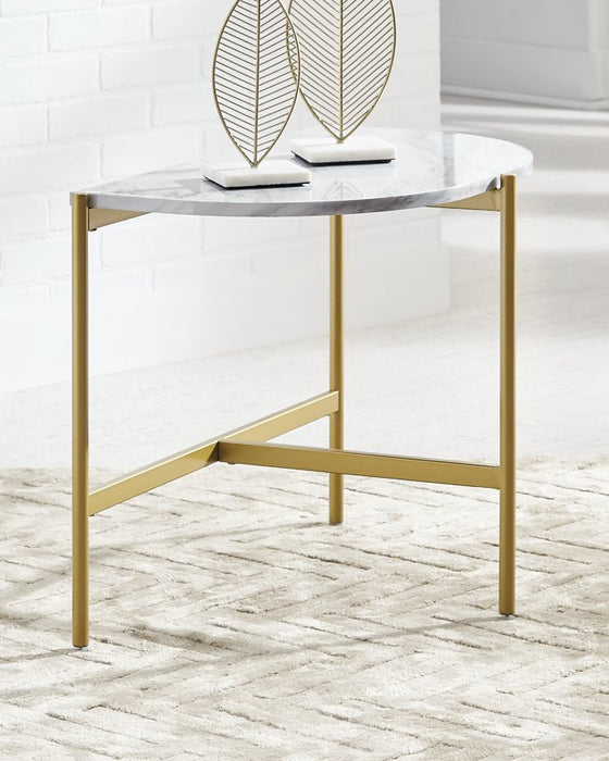 Wynora Signature Design by Ashley WhiteGold Chairside End Table