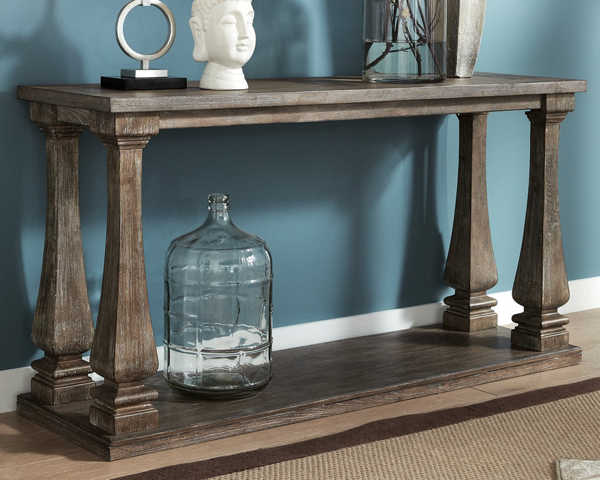 Johnelle Signature Design by Ashley Gray Sofa Table