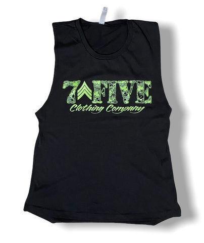 Womens 7Five Camo Logo Muscle Tank - 7Five Clothing Co.