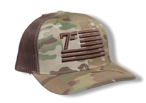 7Five Flag hat - Coyote Brown Camo - 7Five Clothing Co.
