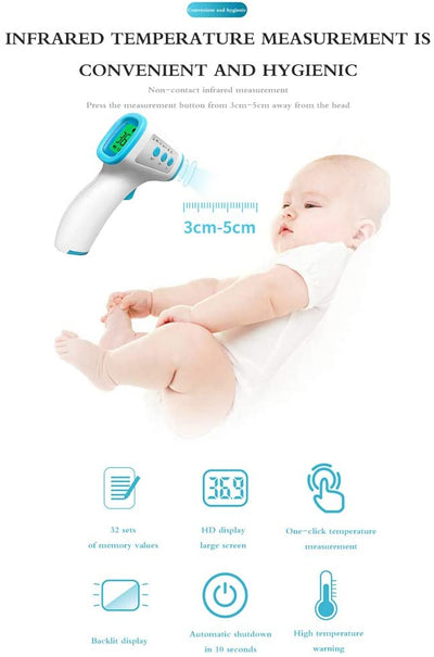 Infrared Forehead Thermometer for Adults, Non Contact Touchless Digital Temporal Thermometers for Baby Kids with Fever Alarm, LCD Screen and Temperature Data Memory
