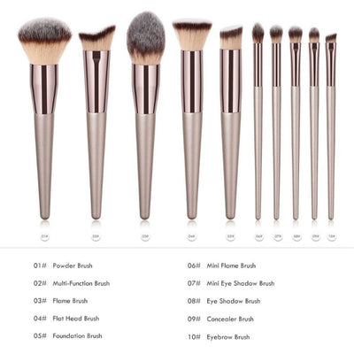 Luxurious Champagne Makeup Brush Liquid Foundation Blush Eye Shadow Lip Gloss Makeup Brush