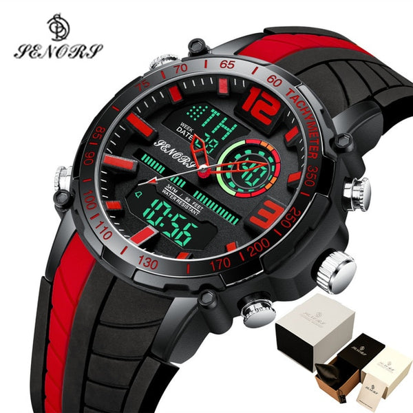 Senors Waterproof LED Digital Men Sports Watch
