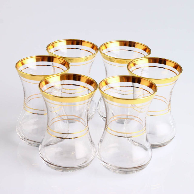 PASABAHCE TEA GLASSES GOLD TRIM