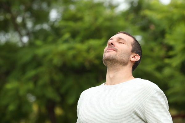 Man breathing fresh air in a forest with green trees in the background