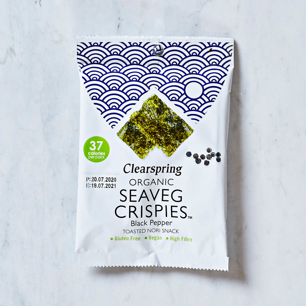 Clearspring Organic Seaveg Crispies Toasted Nori Snack - Black Pepper, 8g