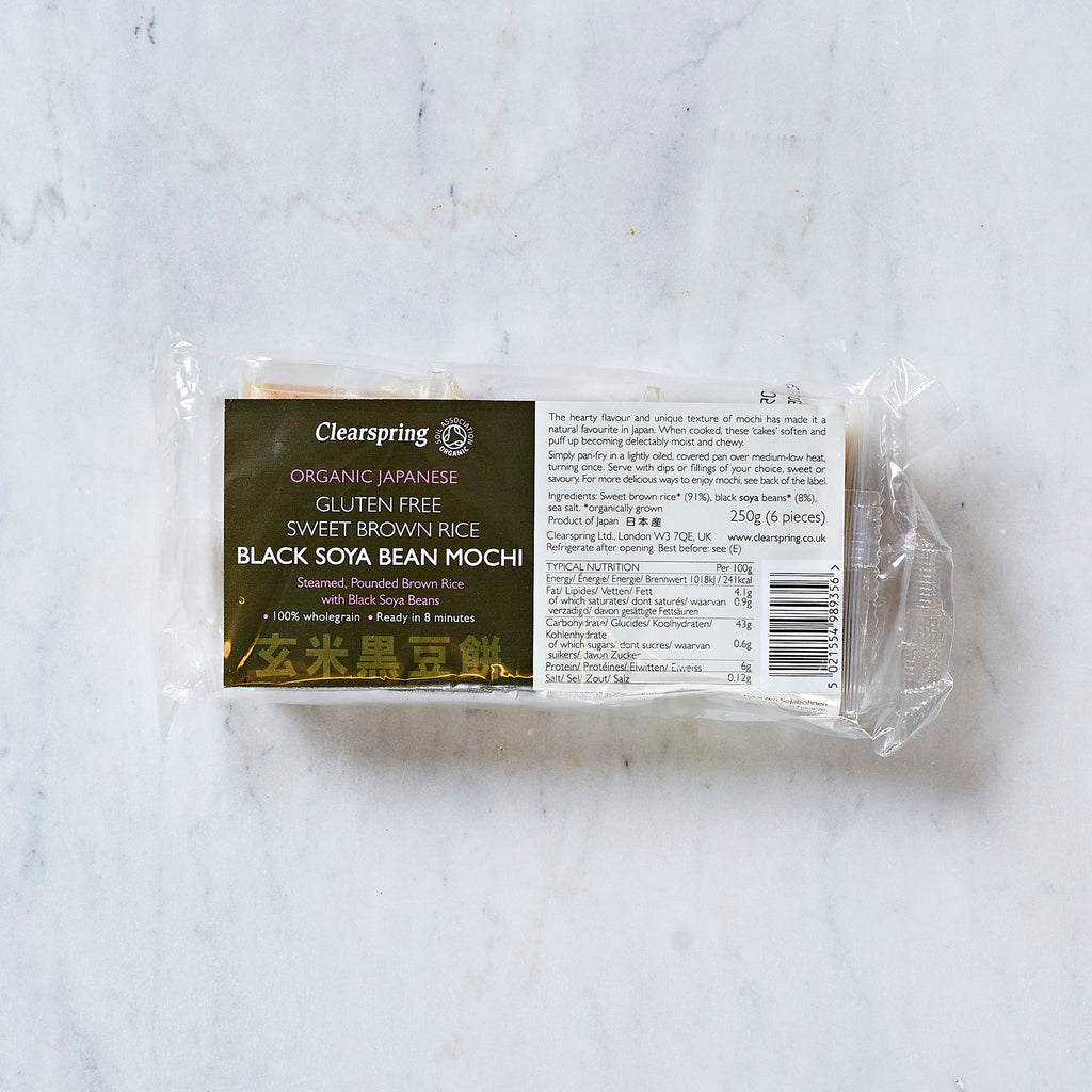 Clearspring Organic Japanese Gluten Free Brown Rice Mochi With Black Soya Beans, 250g