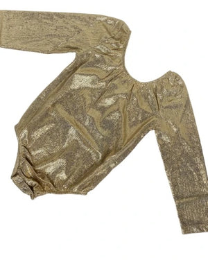 Long Sleeve Leotard- Time to Shine Gold
