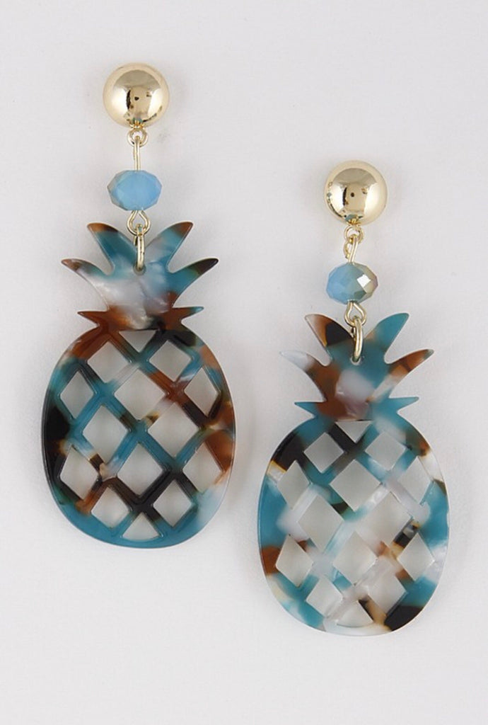 PINEAPPLE earrings || aqua marble