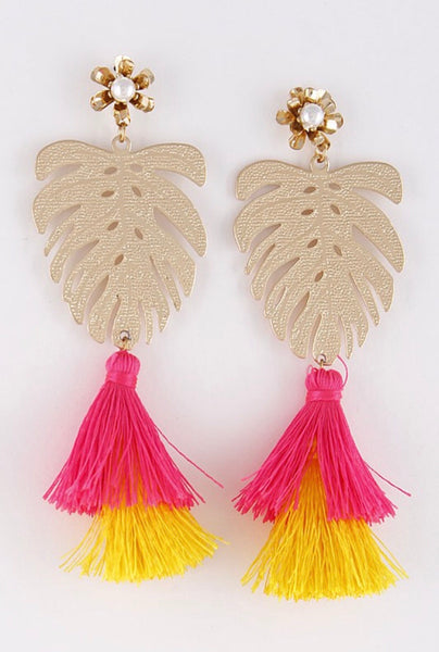 LEAF IT earrings || fuchsia