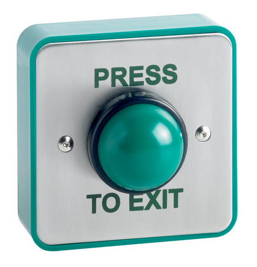 Weatherproof surface mount green dome exit button. SPB004S(W)