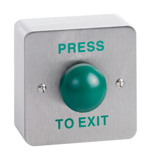 "Surface mount green dome button screen printed ""PRESS TO EXIT"" SPB004S"