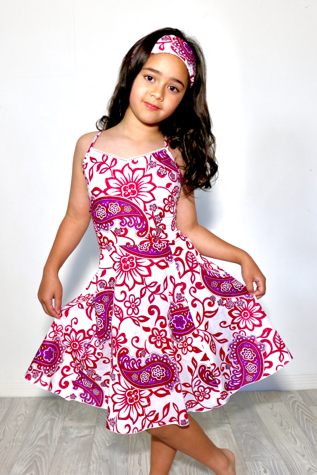 Firefly criss-cross backed dress with matching headband