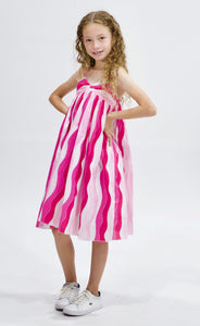 Pink Stripe Double shoulder strap dress