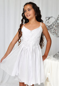 Sweet Romance Cross Panel Front Dress in White