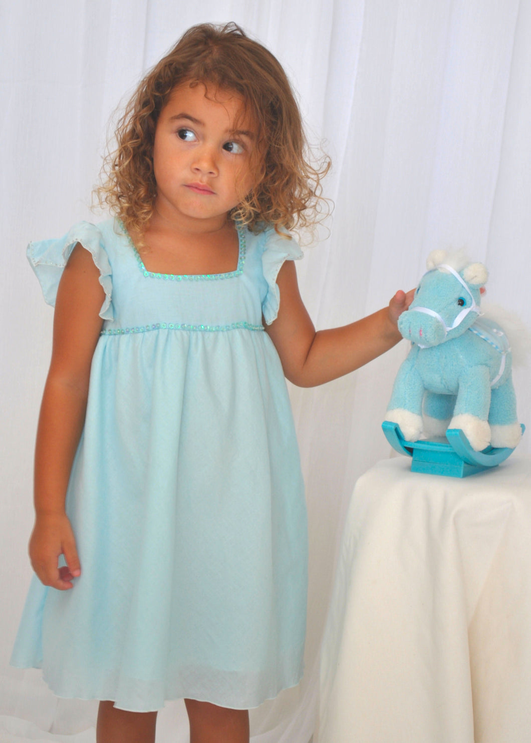 Pastel Baby Blue Capped Sleeve Dress