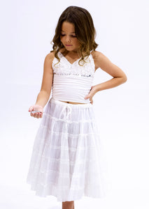 Sweet Romance Boho Full Skirt (white)
