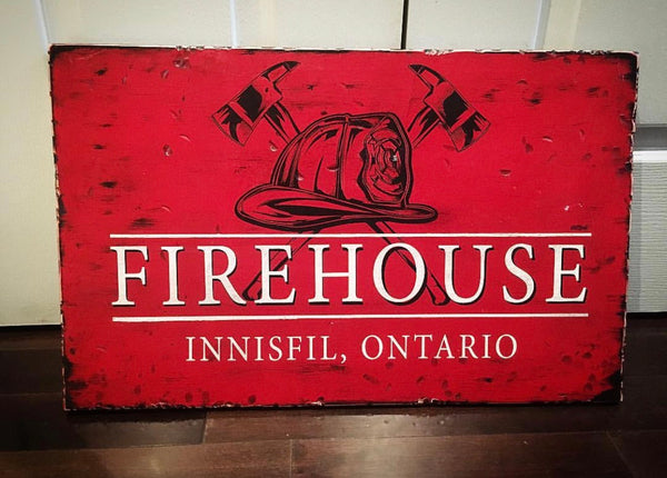 wood sign fire community firehouse