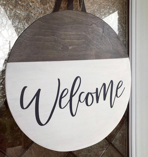 welcome home round sign wood